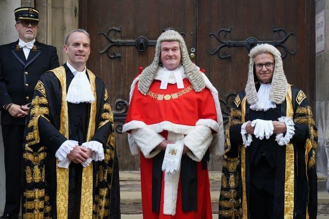 The new Lord Chancellor Dominic Raab (left) alongside Lord Chief Justice Lord Burnett (centre) and Master of the Rolls Sir Geoffrey Vos (Gareth Fuller/PA)