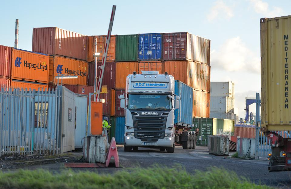 A freight lorry leaves the container depot in Dublin Port. On Friday, January 22, 2021, in Dublin, Ireland. (Photo by Artur Widak/NurPhoto via Getty Images)