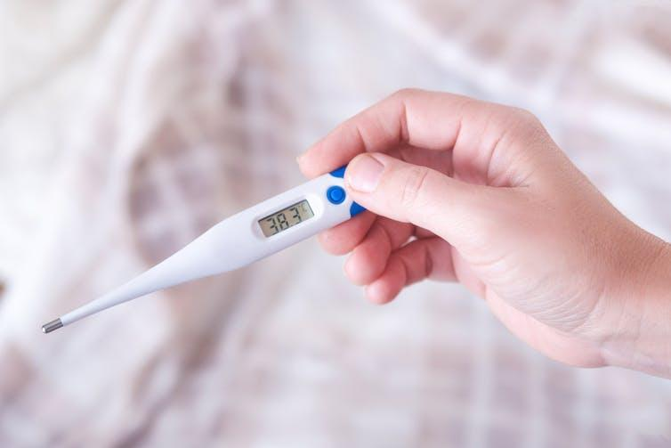 Hand holding a digital thermometer.