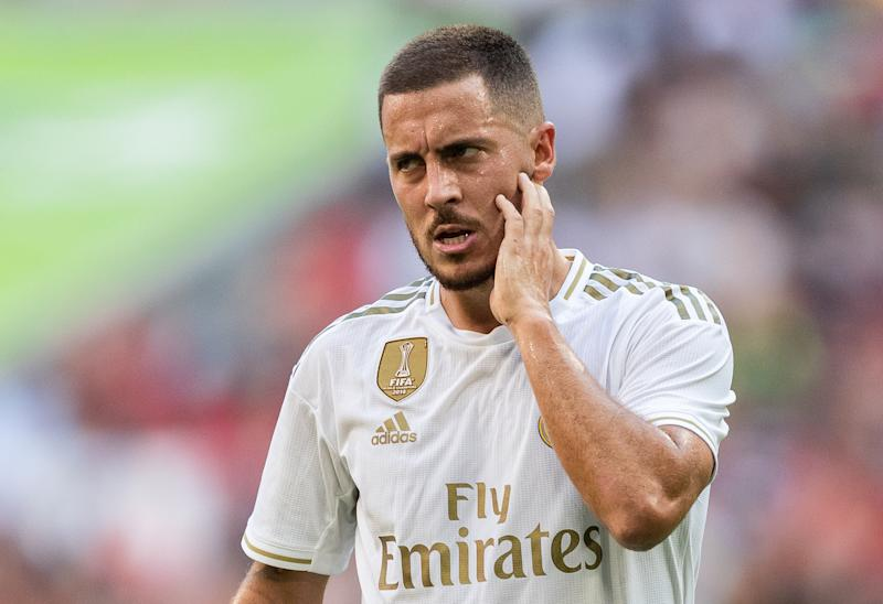 MUNICH, GERMANY - JULY 30: Eden Hazard of Real Madrid reacts during the Audi cup 2019 semi final match between Real Madrid and Tottenham Hotspur at Allianz Arena on July 30, 2019 in Munich, Germany. (Photo by Boris Streubel/Getty Images)