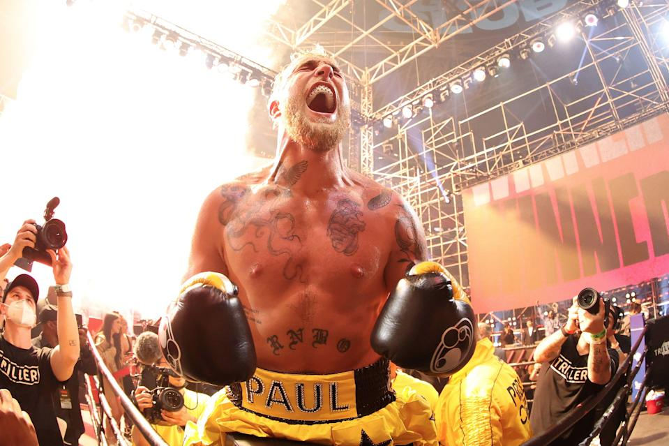 <p>Jake Paul celebrates his emphatic win over Ben Askren</p> (Getty Images for Triller)