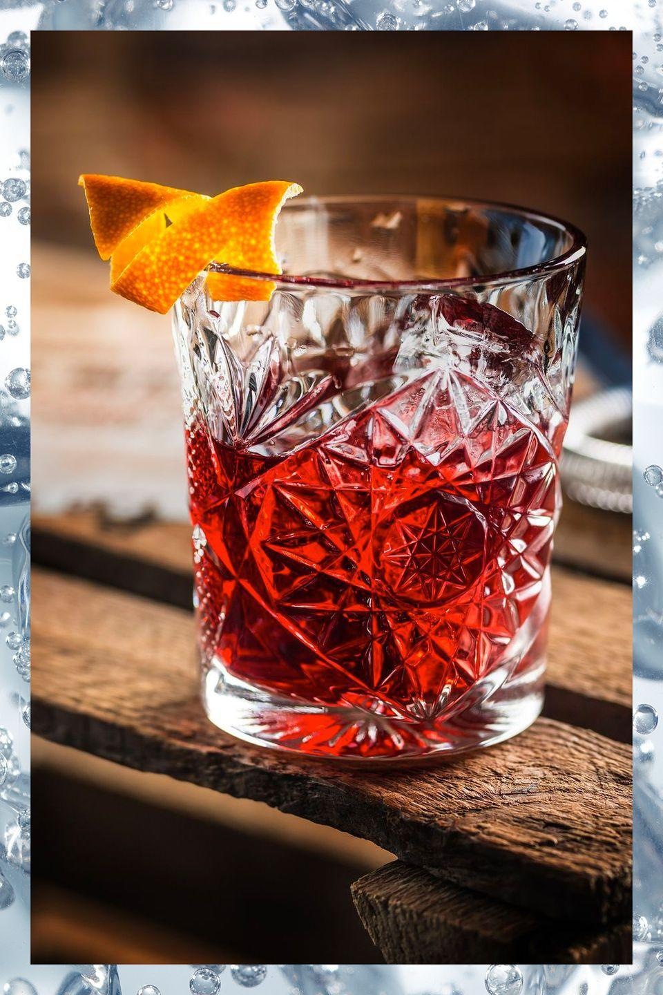 """<p>A favorite of bartenders all over the world, the Negroni is a simple three-ingredient cocktail:</p><p>- 1 oz gin<br>- 1 oz Campari<br>- 1 oz sweet vermouth</p><p><em>Stir ingredients with ice.</em></p><p><strong>More:</strong> <a href=""""https://www.townandcountrymag.com/leisure/drinks/a3205/things-you-didnt-know-about-the-negroni/"""" rel=""""nofollow noopener"""" target=""""_blank"""" data-ylk=""""slk:15 Things You Didn't Know About Negronis"""" class=""""link rapid-noclick-resp"""">15 Things You Didn't Know About Negronis</a></p>"""