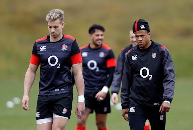 Rugby Union - England Training - Pennyhill Park, Bagshot, Britain - February 20, 2018 England's Harry Mallinder and Anthony Watson during training Action Images via Reuters/Paul Childs