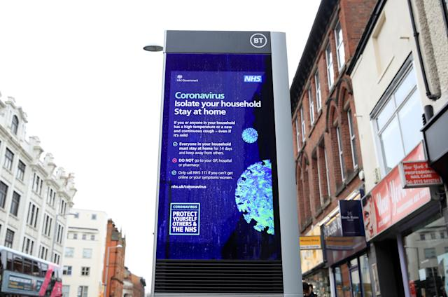 Coronavirus information being shown on an LED information board on Upper Parliament Street in Nottingham. (PA)