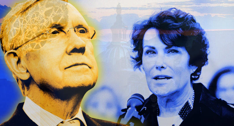 Harry Reid, left, and Jacky Rosen