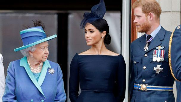 PHOTO: Queen Elizabeth II, Meghan, Duchess of Sussex and Prince Harry, Duke of Sussex watch a flypast to mark the centenary of the Royal Air Force from the balcony of Buckingham Palace, July 10, 2018, in London. (Max Mumby/indigo/Getty Images)