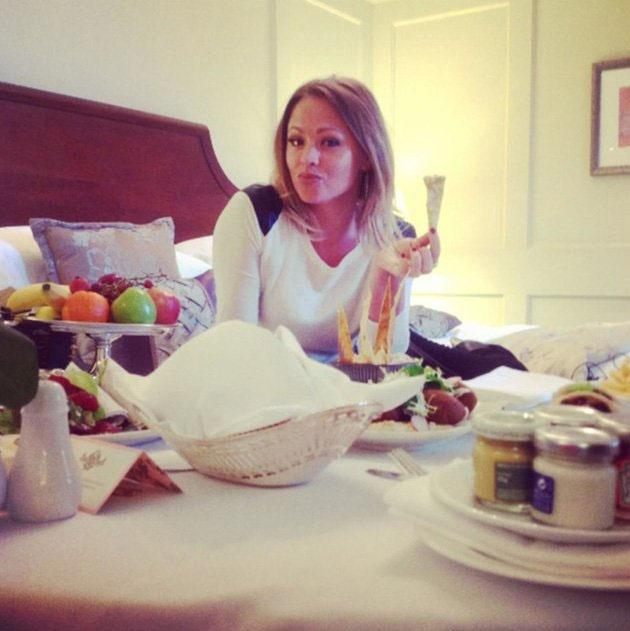 Celebrity Twitpics: Kimberley Walsh is in the midst of Strictly Come Dancing tour rehearsals and obviously needs to keep her strength up. But even we think she might have gone a BIT overboard with the room service here…