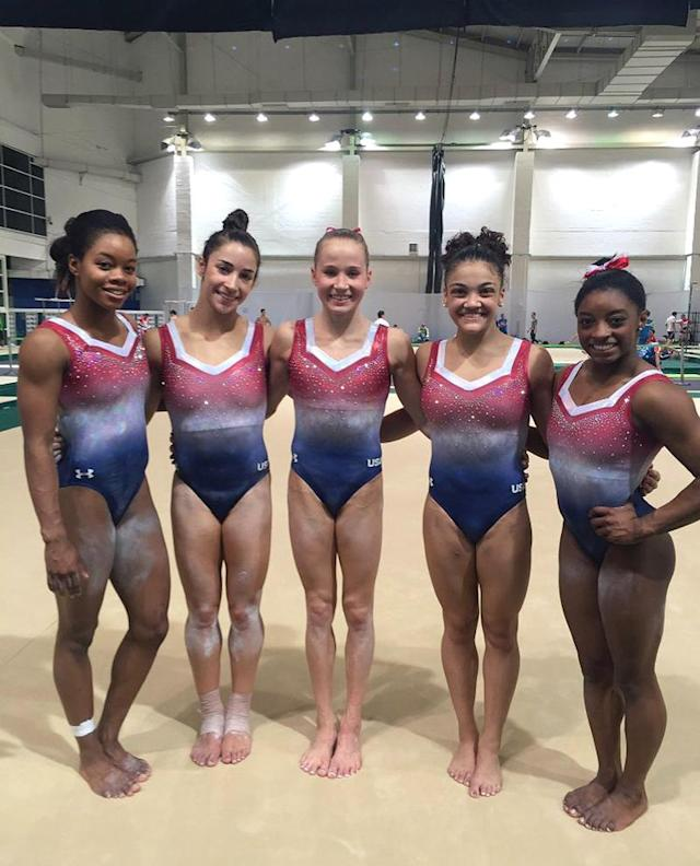 <p>The gymnasts show off their patriotic leotards during practice in Rio. (@Simone_Biles/Twitter) </p>