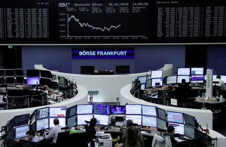 FILE PHOTO: The German share price index, DAX board, is seen at the stock exchange in Frankfurt, Germany, February 26, 2018.    REUTERS/Staff/Remote