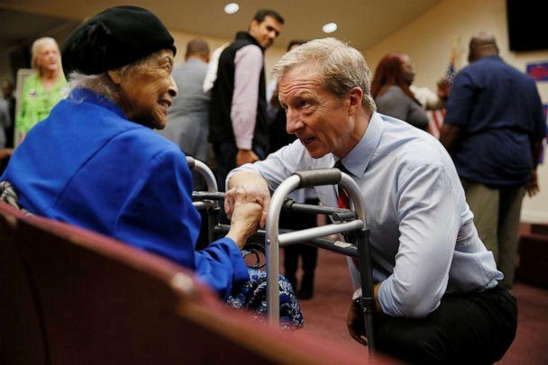 PHOTO: Democratic presidential candidate Tom Steyer talks to Jeanette Thompson, 87, after a campaign event in Yemassee, S.C., Feb. 23, 2020. (Elizabeth Frantz/Reuters)