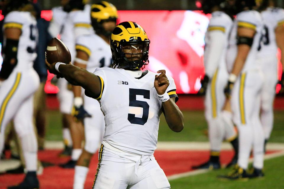 Michigan quarterback Joe Milton warms up before the game against the Rutgers Scarlet Knights at SHI Stadium on Saturday, Nov. 21, 2020 in Piscataway, New Jersey.