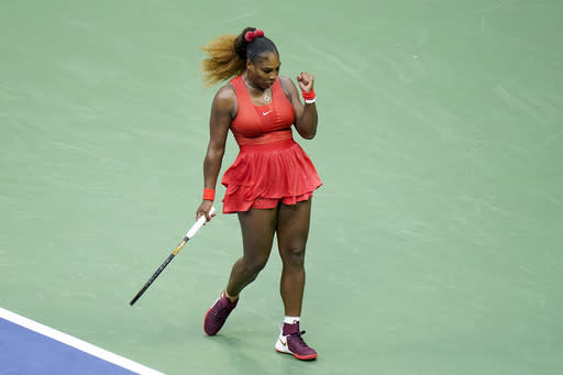 Serena Williams, of the United States, reacts during a match against Kristie Ahn, of the United States, during the first round of the US Open tennis championships, Tuesday, Sept. 1, 2020, in New York. (AP Photo/Seth Wenig)