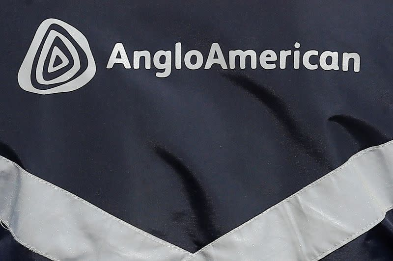 Logo of Anglo American is seen on a jacket of an employee at the Los Bronces copper mine, in the outskirts of Santiago