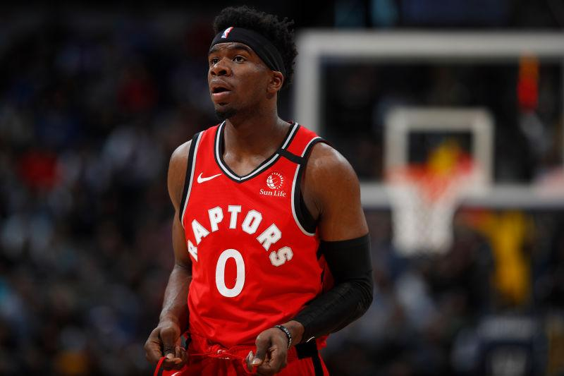 Toronto Raptors guard Terence Davis (0) in the first half of an NBA basketball game Sunday, March 1, 2020.