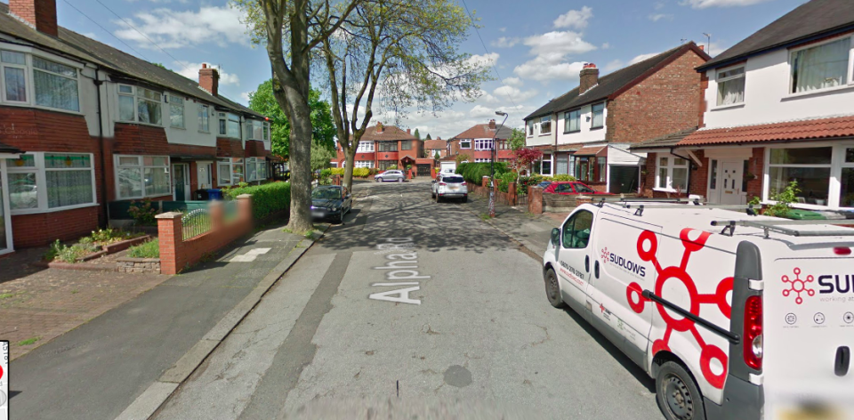 <em>The incident which took place in Alpha Road in Stretford at around 9.50pm on Tuesday (Google)</em>