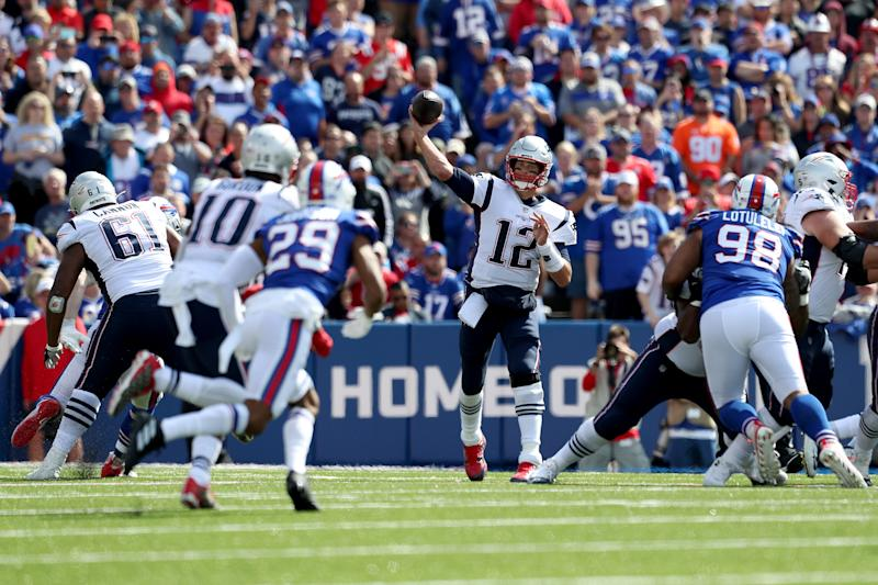 ORCHARD PARK, NEW YORK - SEPTEMBER 29: Tom Brady #12 of the New England Patriots throws a pass during the second quarter of a game against the Buffalo Bills at New Era Field on September 29, 2019 in Orchard Park, New York. (Photo by Bryan M. Bennett/Getty Images)
