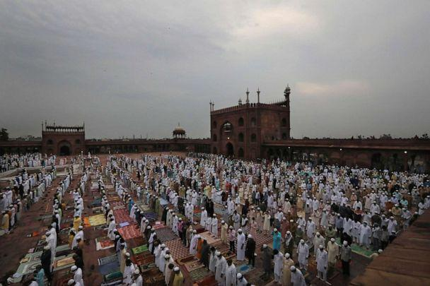 PHOTO: Indian Muslims wear face masks as a precaution against the novel coronavirus while offering Eid al-Adha prayer at the Jama Masjid mosque in New Delhi, India, on Aug.1, 2020. (Manish Swarup/AP)