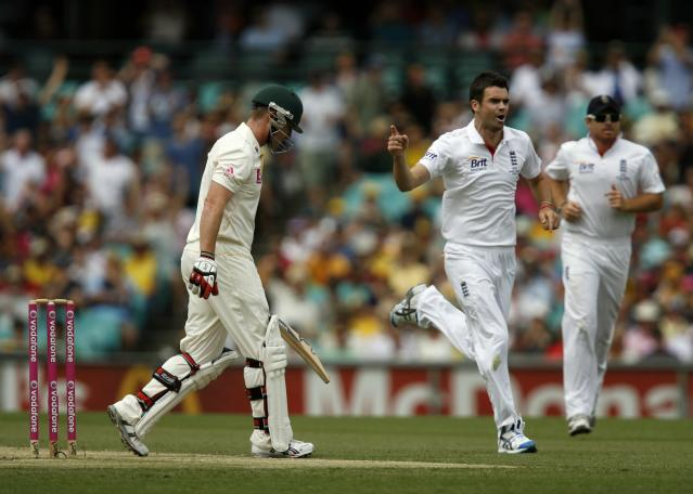 England bowler James Anderson (C) celebrates after Matt Prior catches Australian batsman Brad Haddin (L) out on day two of the fifth Ashes cricket Test against England at the Sydney Cricket Ground on January 4, 2011. Australia won the toss and elected to bat and were 173-6 as play continued. IMAGE STRICTLY RESTRICTED TO EDITORIAL USE - STRICTLY NO COMMERCIAL USE AFP PHOTO / KRYSTLE WRIGHT (Photo credit should read KRYSTLE WRIGHT/AFP/Getty Images)