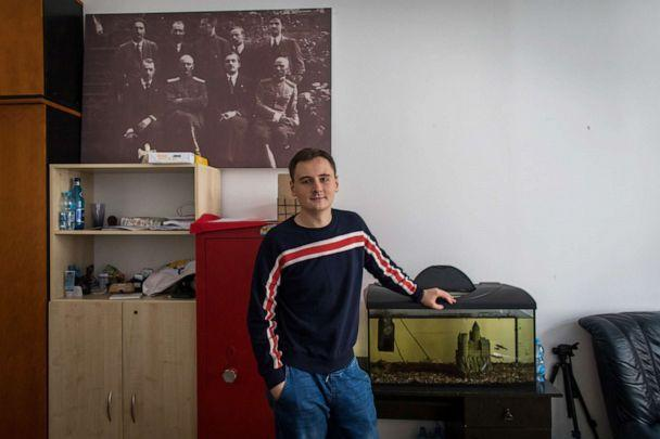 PHOTO: Stepan Svetlov poses at the Belarusian community center that hosts his office office in Warsaw, Poland, Sept. 2, 2020. (Anna Liminowicz/The New York Times via Redux)