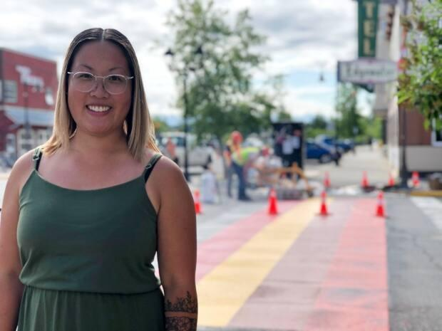 'This is a small step that I was able to contribute to,' said Melissa Murray, who petitioned Whitehorse city council for a new crosswalk downtown, to represent Black, Indigenous and people of colour. It's now been made permanent. (George Maratos/CBC - image credit)