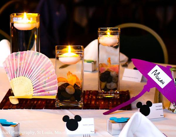 The Mulan table was adorned with Chinese fans.