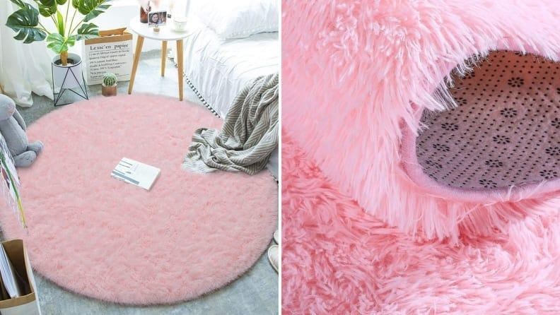 Add a pop of color with this furry rug.