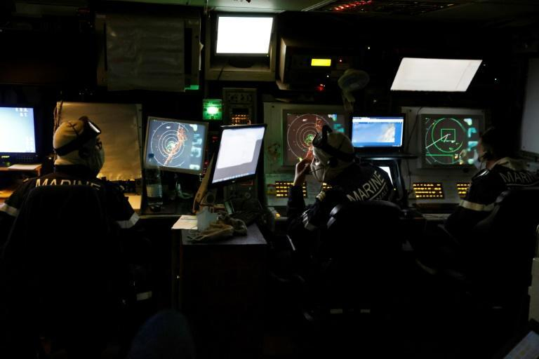The tactical operations centre aboard the La Fayette offers an overview of the whole eastern Mediterranean