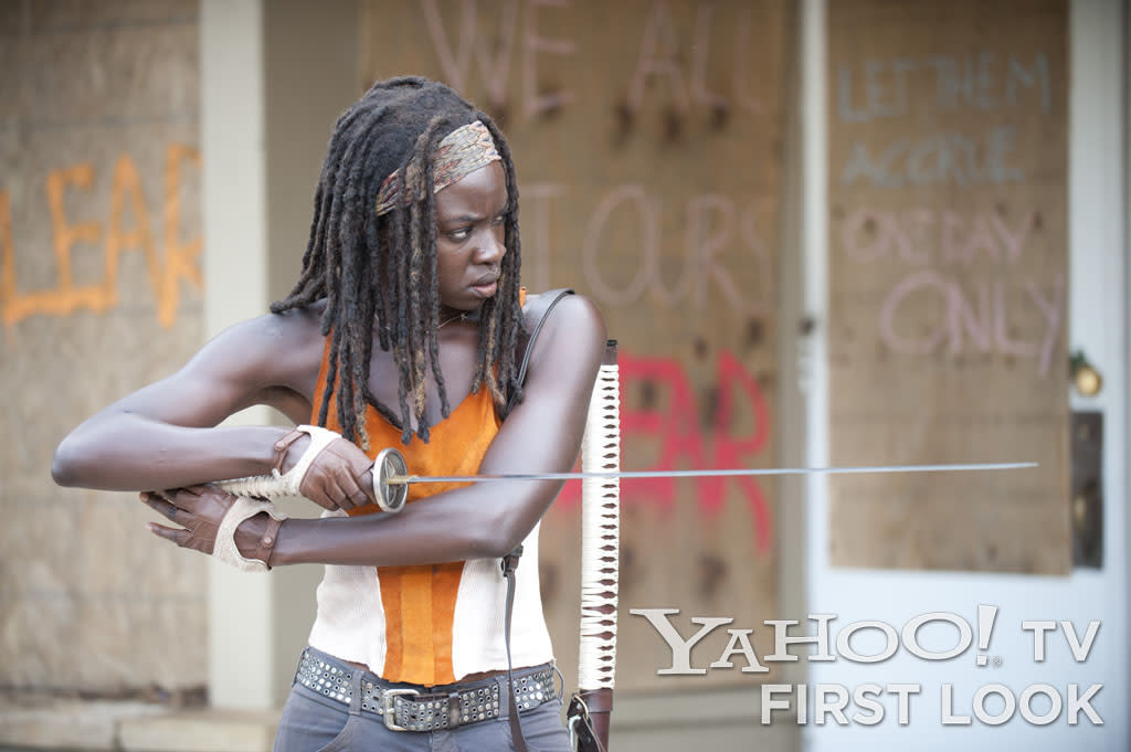 "Michonne (Danai Gurira) in ""The Walking Dead"" Season 3 episode, ""Clear."""