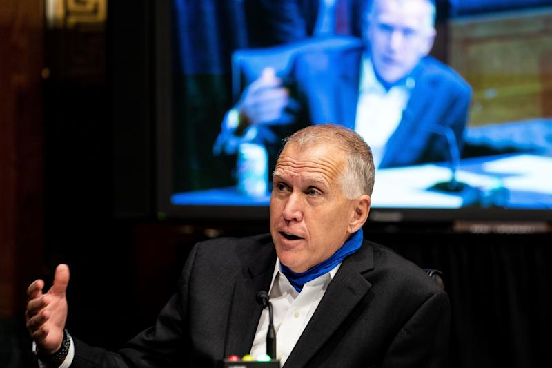 GOP Sen. Thom Tillis says people will remember the good life under President Trump in November -- and that will propel the both of them to victory.  (ERIN SCHAFF via Getty Images)