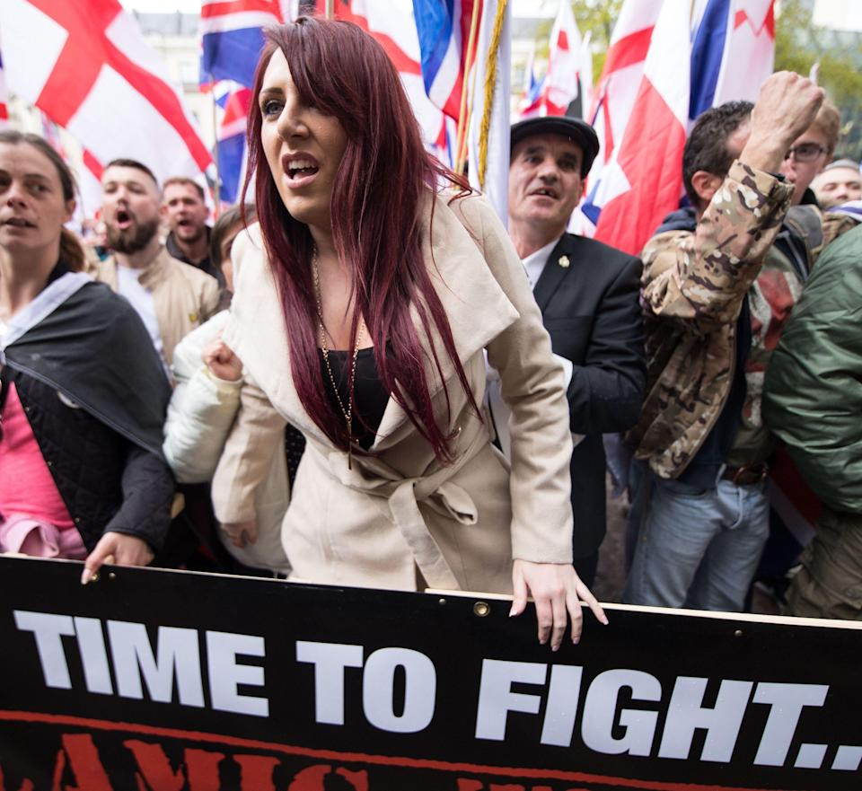Jayda Fransen of Britain First at a demonstration in London, opposed by anti-fascist groups, (Rex features)