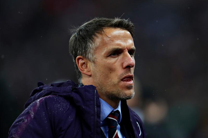 LONDON, ENGLAND - NOVEMBER 09: Head Coach of England Phil Neville looks on during the International Friendly between England Women and Germany Women at Wembley Stadium on November 09, 2019 in London, England. (Photo by Catherine Ivill/Getty Images)
