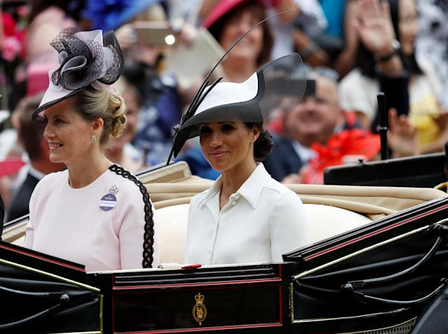 Horse Racing - Royal Ascot - Ascot Racecourse, Ascot, Britain - June 19, 2018 Meghan, the Duchess of Sussex and Sophie, Countess of Wessex arrive at Ascot racecourse REUTERS/Peter Nicholls