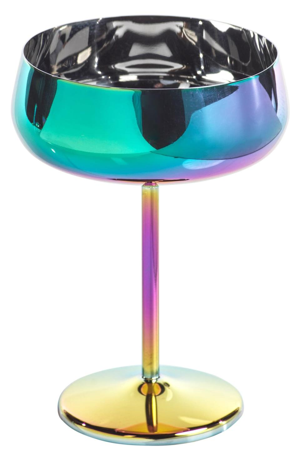 <p>The <span>Zodax Rainbow Metal Champagne Coupe</span> ($19) is a work of art.</p>