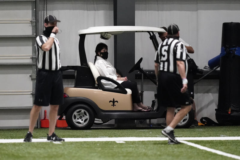 New Orleans Saints owner Gayle Benson was back at practice on Wednesday. (AP Photo/Gerald Herbert, Pool)
