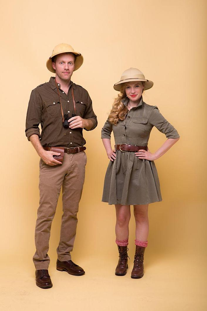 """<p>If you can both pull off the color olive green, then dress up as a pair of fearless safari guides. </p><p><strong><em><a href=""""https://camillestyles.com/design/safari-couples-costume/"""" rel=""""nofollow noopener"""" target=""""_blank"""" data-ylk=""""slk:Get the tutorial at Camille Styles"""" class=""""link rapid-noclick-resp"""">Get the tutorial at Camille Styles</a>. </em></strong></p>"""