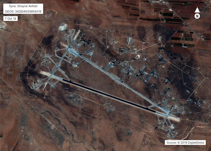<p>This Oct. 7, 2016, satellite image released by the U.S. Department of Defense shows Shayrat Air Base in Syria. The United States blasted the base with a barrage of cruise missiles on April 7, 2017, in retaliation for chemical weapons attack against civilians. (DigitalGlobe/U.S. Department of Defense via AP) </p>