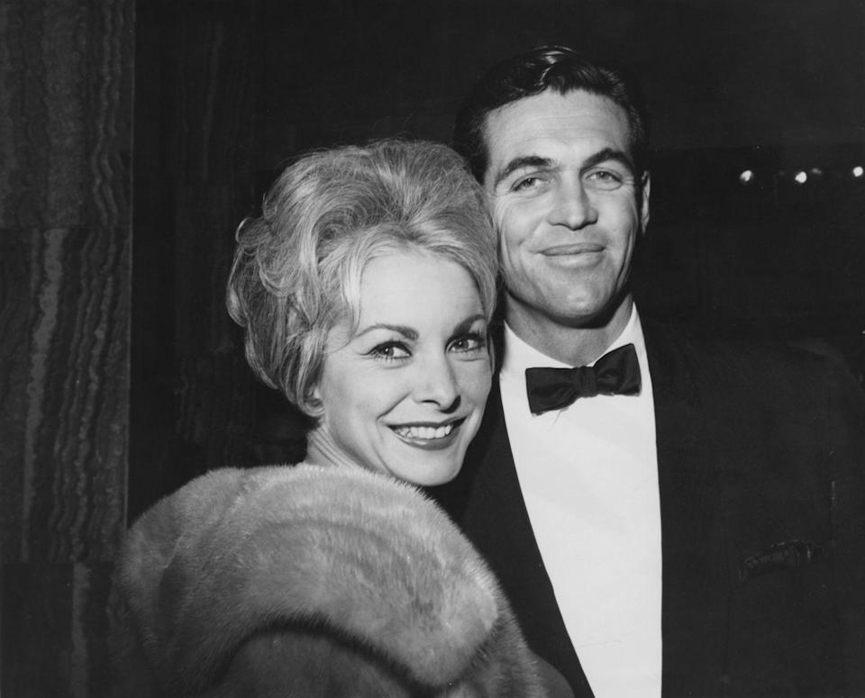 <p><em>Psycho</em> star Janet Leigh with her husband Robert Brandt at the 1963 film premiere of <em>It's a Mad, Mad, Mad, Mad World</em>.</p>