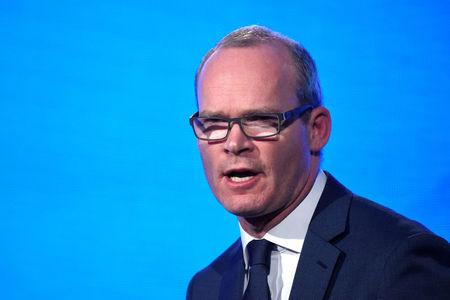 Affairs and Trade in Ireland Simon Coveney speaks on stage during the Fine Gael national party conference in Ballyconnell Ireland