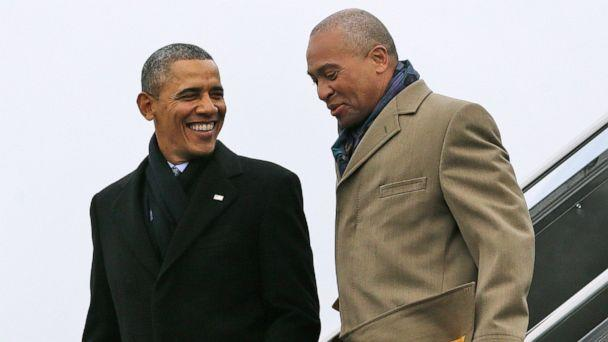 PHOTO: In this March 5, 2014 file photo, President Barack Obama, left, speaks with Massachusetts Gov. Deval Patrick upon arrival on Air Force One at Boston Logan International Airport in Boston. (Pablo Martinez Monsivais/AP, File)