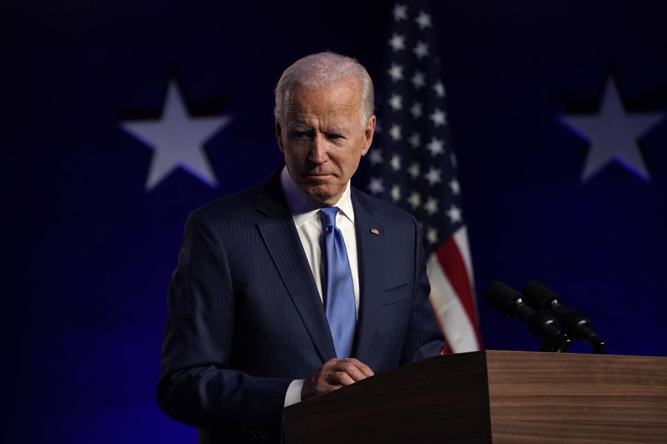WILMINGTON, DELAWARE - NOVEMBER 06: Democratic presidential nominee Joe Biden addresses the nation at the Chase Center November 06, 2020 in Wilmington, Delaware.  The winner of the 2020 presidential election has yet to be declared, as vote counting continues in the key states of Pennsylvania, Georgia, Nevada, Arizona, and North Carolina. (Photo by Drew Angerer/Getty Images)