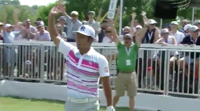 Japan's Hideto Tanihara didn't upset Dustin Johnson and advance to the championship of the WGC-Dell Technologies Match Play, but he did provide the most memorable shot of the week.
