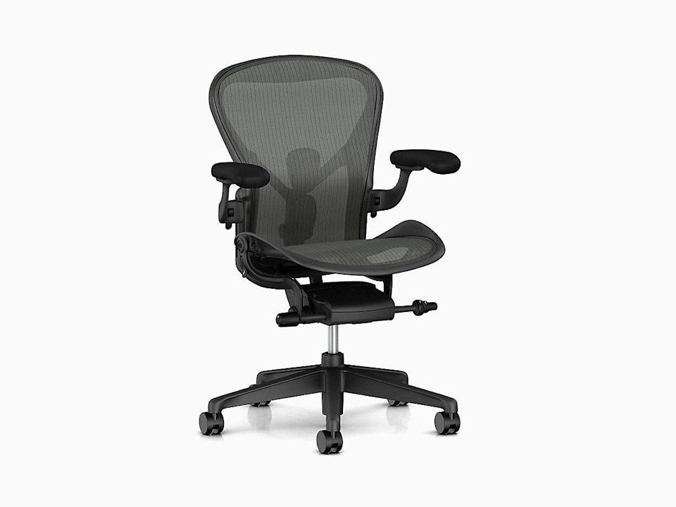 """<p><strong>Don Chadwick + Bill Stumpf</strong></p><p>hermanmiller.com</p><p><strong>$1445.00</strong></p><p><a href=""""https://go.redirectingat.com?id=74968X1596630&url=https%3A%2F%2Fstore.hermanmiller.com%2Foffice%2Foffice-chairs%2Faeron-chair%2F2195348.html&sref=https%3A%2F%2Fwww.redbookmag.com%2Fbeauty%2Fg37132432%2Fchair-types-styles-designs%2F"""" rel=""""nofollow noopener"""" target=""""_blank"""" data-ylk=""""slk:Shop Now"""" class=""""link rapid-noclick-resp"""">Shop Now</a></p><p>This chair look familiar? There's good reason. Herman Miller has sold over 7 million of its most popular office chair, designed by Don Chadwick and Bill Stumpf. The adjustable, three-size seat is designed with ergonomics in mind for maximum comfort. </p>"""