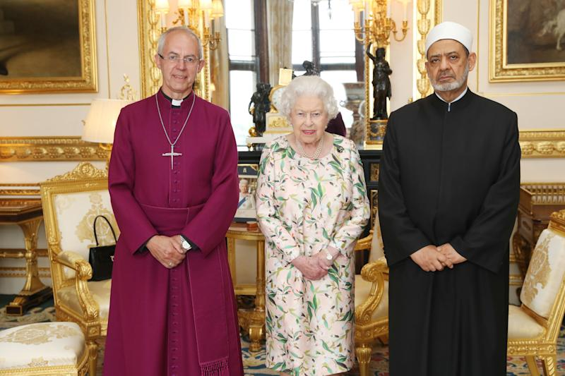 The Queen with Archbishop of Canterbury and the Grand Imam of Al-Azhar the day Donald Trump arrived in the UK. [Photo: PA]