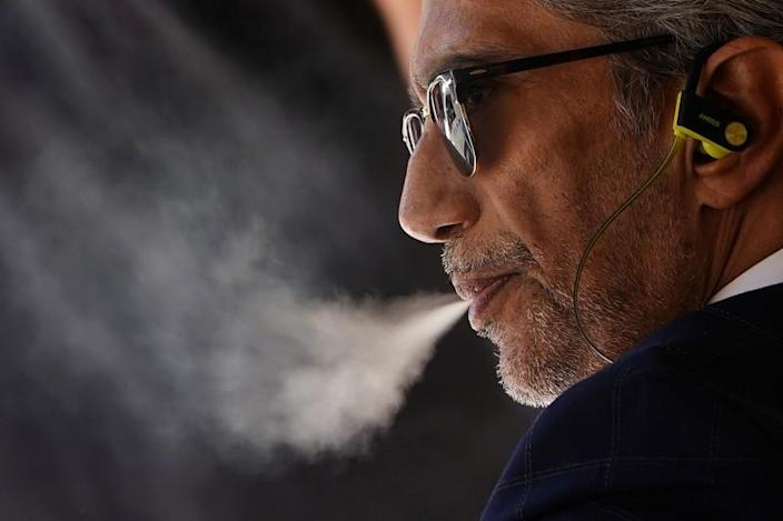 A man uses a vaping product in the Manhattan borough of New York