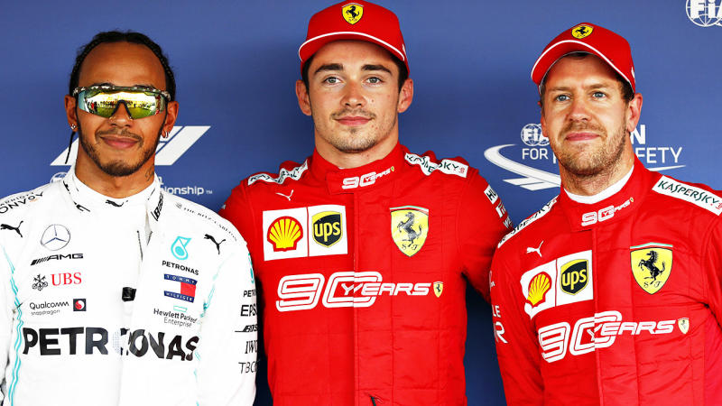 Lewis Hamilton, Charles Leclerc and Sebastian Vettel, pictured here at the Russian Grand Prix.