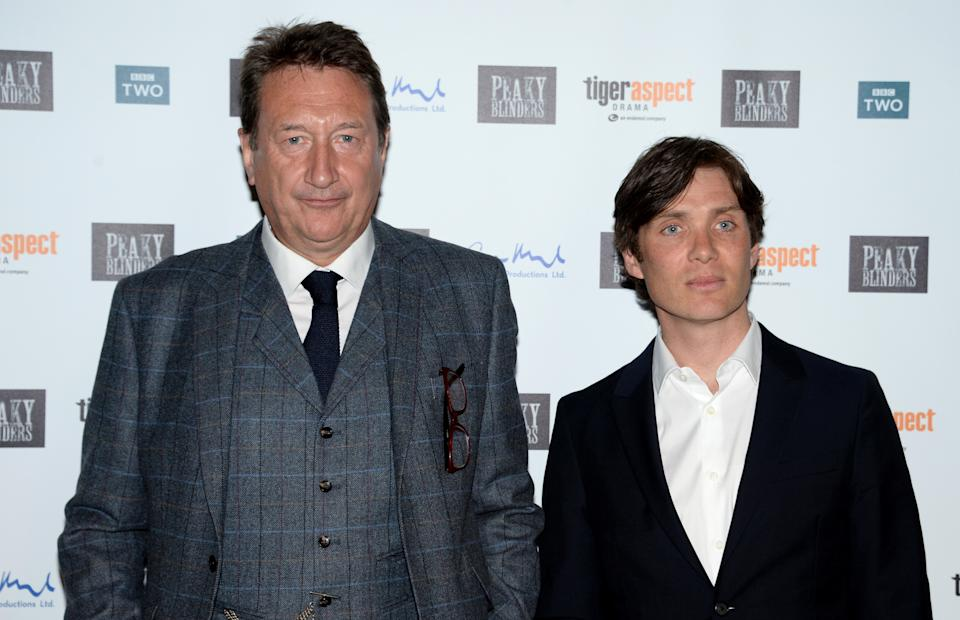 """LONDON, ENGLAND - MAY 03:  Steven Knight and Cillian Murphy attend the Premiere of BBC Two's drama """"Peaky Blinders"""" episode one, series three at BFI Southbank on May 3, 2016 in London, England.  (Photo by Anthony Harvey/Getty Images)"""