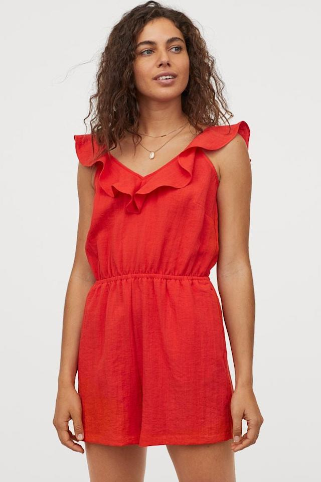 """<p>The ruffle detail on this <a href=""""https://www.popsugar.com/buy/HampM-Flounce-trimmed-Romper-579206?p_name=H%26amp%3BM%20Flounce-trimmed%20Romper&retailer=www2.hm.com&pid=579206&price=40&evar1=fab%3Aus&evar9=47524904&evar98=https%3A%2F%2Fwww.popsugar.com%2Ffashion%2Fphoto-gallery%2F47524904%2Fimage%2F47525091%2FHM-Flounce-trimmed-Romper&list1=shopping%2Cjumpsuits%2Cfashion%20shopping%2Crompers%2Ccomfortable%20clothes&prop13=mobile&pdata=1"""" rel=""""nofollow"""" data-shoppable-link=""""1"""" target=""""_blank"""" class=""""ga-track"""" data-ga-category=""""Related"""" data-ga-label=""""https://www2.hm.com/en_us/productpage.0851363002.html"""" data-ga-action=""""In-Line Links"""">H&amp;M Flounce-trimmed Romper</a> ($40) is so cute.</p>"""