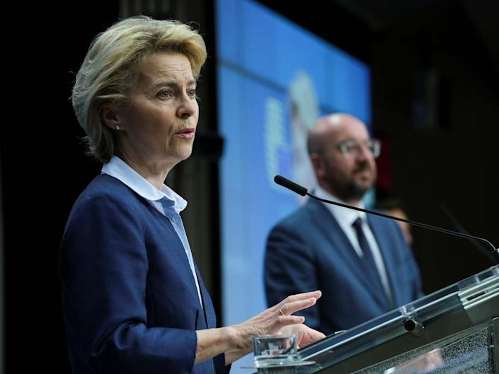 European Commission President Ursula Von Der Leyen and European Council President Charles Michel give a press conference following a video conferenced EU summit to discuss the measures to tackle the spread of the Covid-19 pandemic: Getty