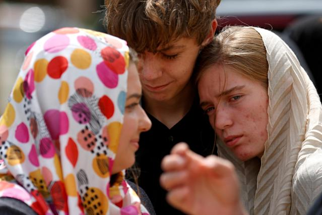 <p>FILE PHOTO: Members of Sabika Sheikh's host family are comforted by community members after a funeral prayer service at the Brand Lane Islamic Center in Stafford, Texas, May 20, 2018. (Photo: Jonathan Bachman/Reuters) </p>