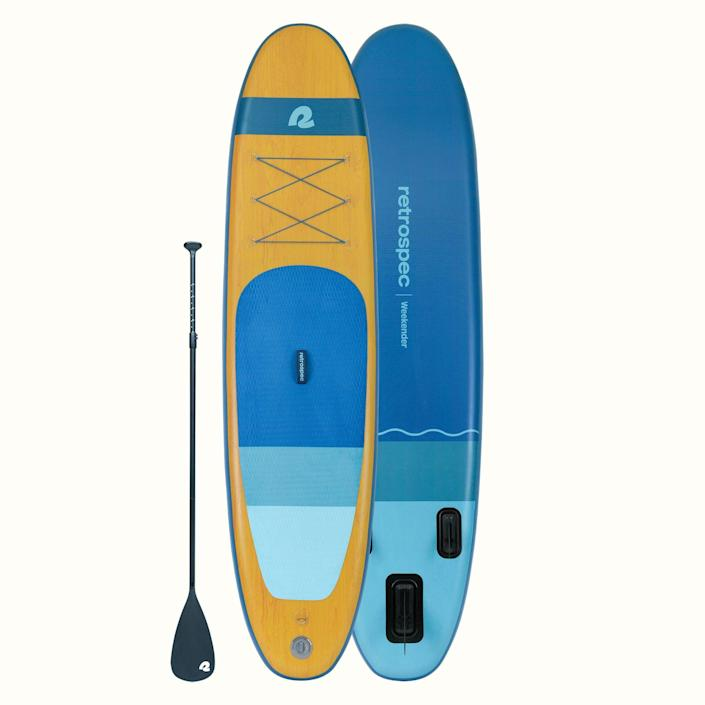 """<p>If he's planning on living at the lake this summer, you'll float his boat (so to speak) with this genius lightweight inflatable paddleboard that's as sturdy as the real thing, but easy to toss in the trunk.</p> <p><strong>Buy It! </strong>Retrospec inflatable paddleboard, $349; <a href=""""https://retrospec.com/collections/inflatable-sup/products/weekender-10-inflatable-stand-up-paddleboard?variant=31927001284705"""" rel=""""sponsored noopener"""" target=""""_blank"""" data-ylk=""""slk:retrospec.com"""" class=""""link rapid-noclick-resp"""">retrospec.com</a></p>"""